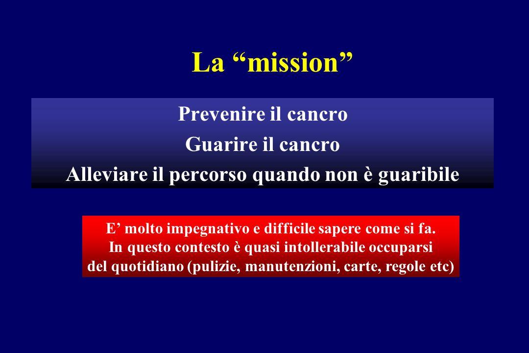La mission Prevenire il cancro Guarire il cancro Alleviare il percorso quando non è guaribile E molto impegnativo e difficile sapere come si fa.