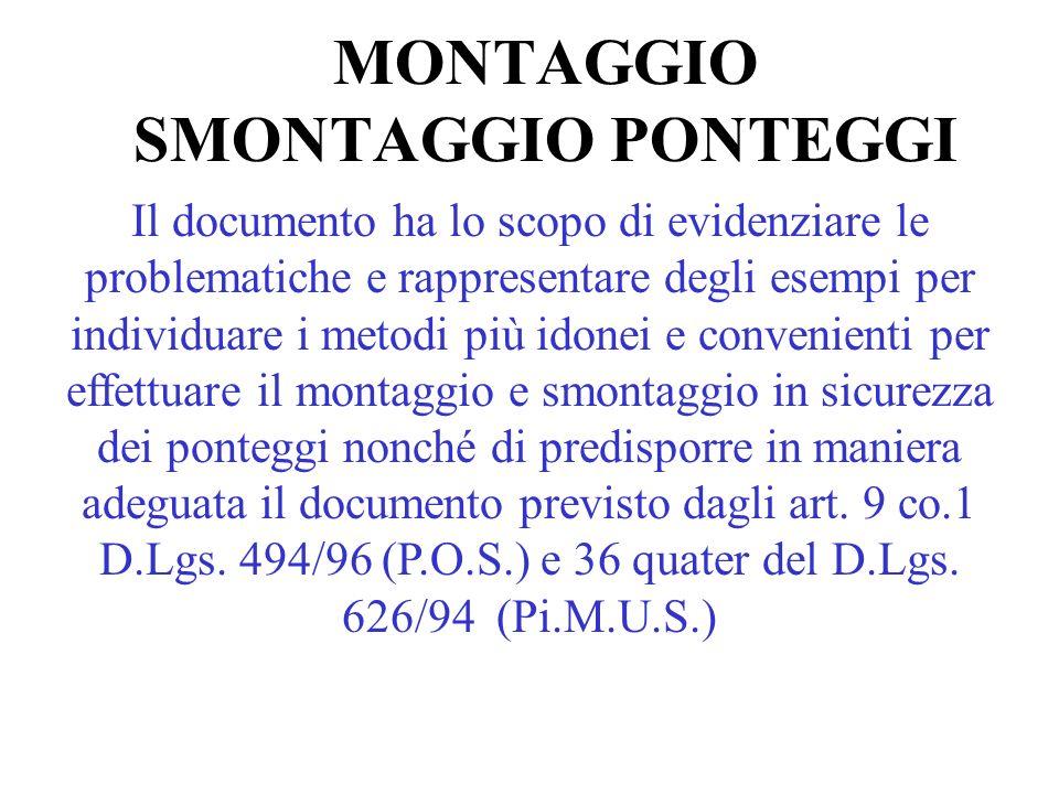 MONTAGGIO SMONTAGGIO PONTEGGI Il documento ha lo scopo di evidenziare le problematiche e rappresentare degli esempi per individuare i metodi più idone