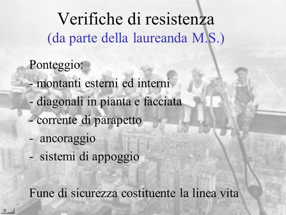 Verifiche di resistenza (da parte della laureanda M.S.) Ponteggio: - montanti esterni ed interni - diagonali in pianta e facciata - corrente di parape