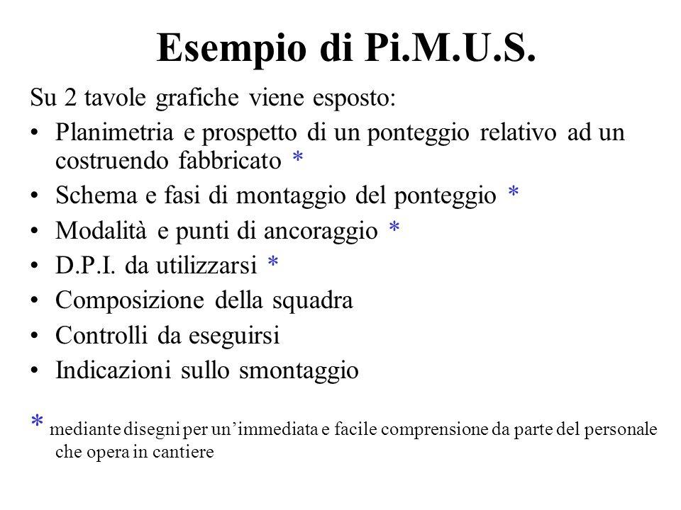 Esempio di Pi.M.U.S. Su 2 tavole grafiche viene esposto: Planimetria e prospetto di un ponteggio relativo ad un costruendo fabbricato * Schema e fasi