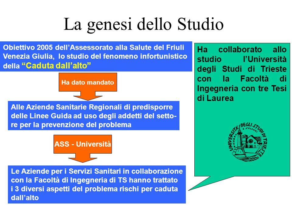 La genesi dello Studio Obiettivo 2005 dellAssessorato alla Salute del Friuli Venezia Giulia, lo studio del fenomeno infortunistico della Caduta dallal