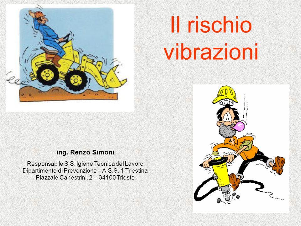 Il rischio vibrazioni ing. Renzo Simoni Responsabile S.S. Igiene Tecnica del Lavoro Dipartimento di Prevenzione – A.S.S. 1 Triestina Piazzale Canestri