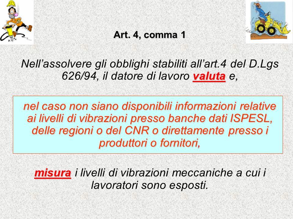 Art. 4, comma 1 valuta Nellassolvere gli obblighi stabiliti allart.4 del D.Lgs 626/94, il datore di lavoro valuta e, nel caso non siano disponibili in