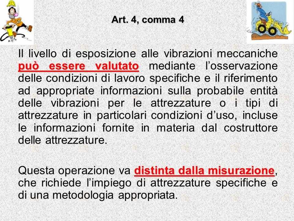Art. 4, comma 4 può essere valutato Il livello di esposizione alle vibrazioni meccaniche può essere valutato mediante losservazione delle condizioni d