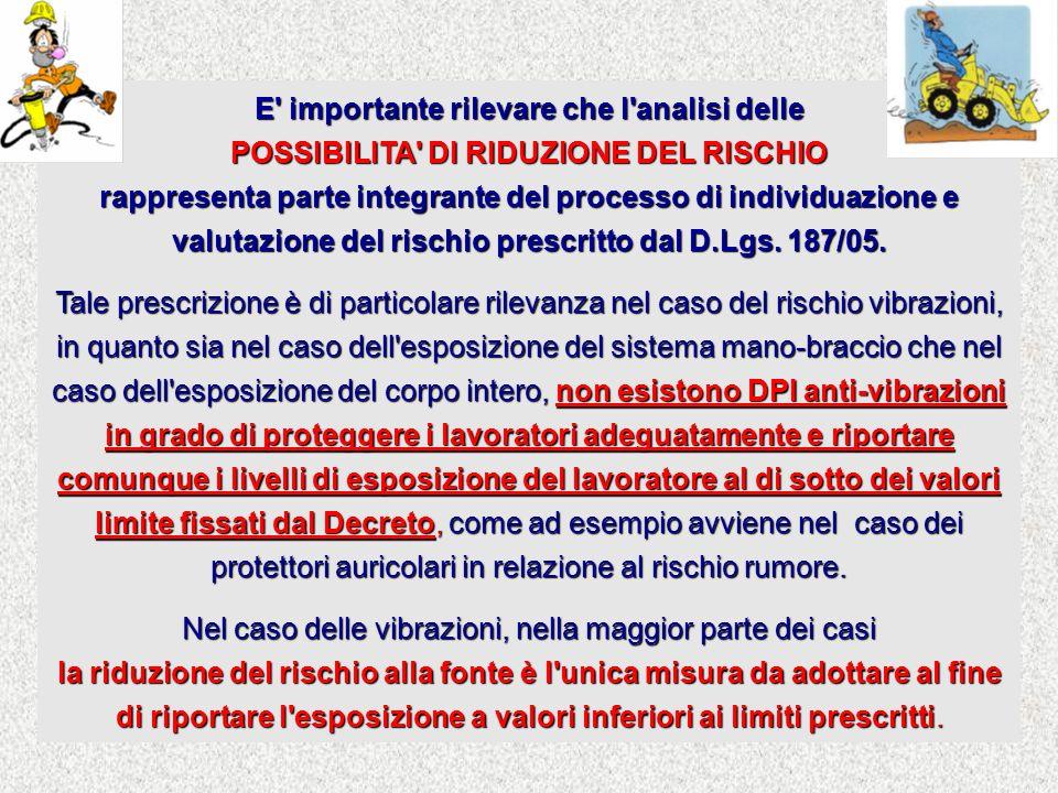 E' importante rilevare che l'analisi delle POSSIBILITA' DI RIDUZIONE DEL RISCHIO rappresenta parte integrante del processo di individuazione e valutaz