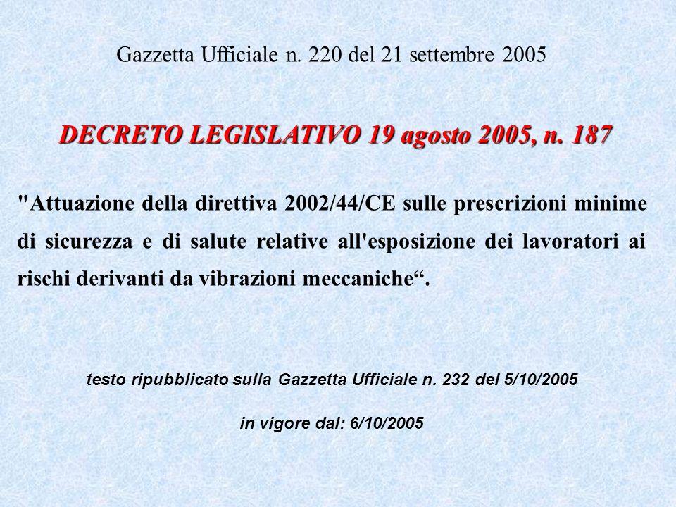 Gazzetta Ufficiale n. 220 del 21 settembre 2005 DECRETO LEGISLATIVO 19 agosto 2005, n. 187