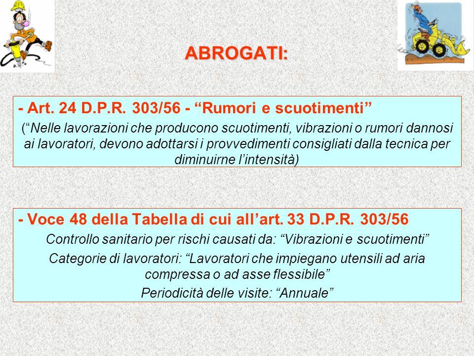 ABROGATI: - Art. 24 D.P.R. 303/56 - Rumori e scuotimenti (Nelle lavorazioni che producono scuotimenti, vibrazioni o rumori dannosi ai lavoratori, devo