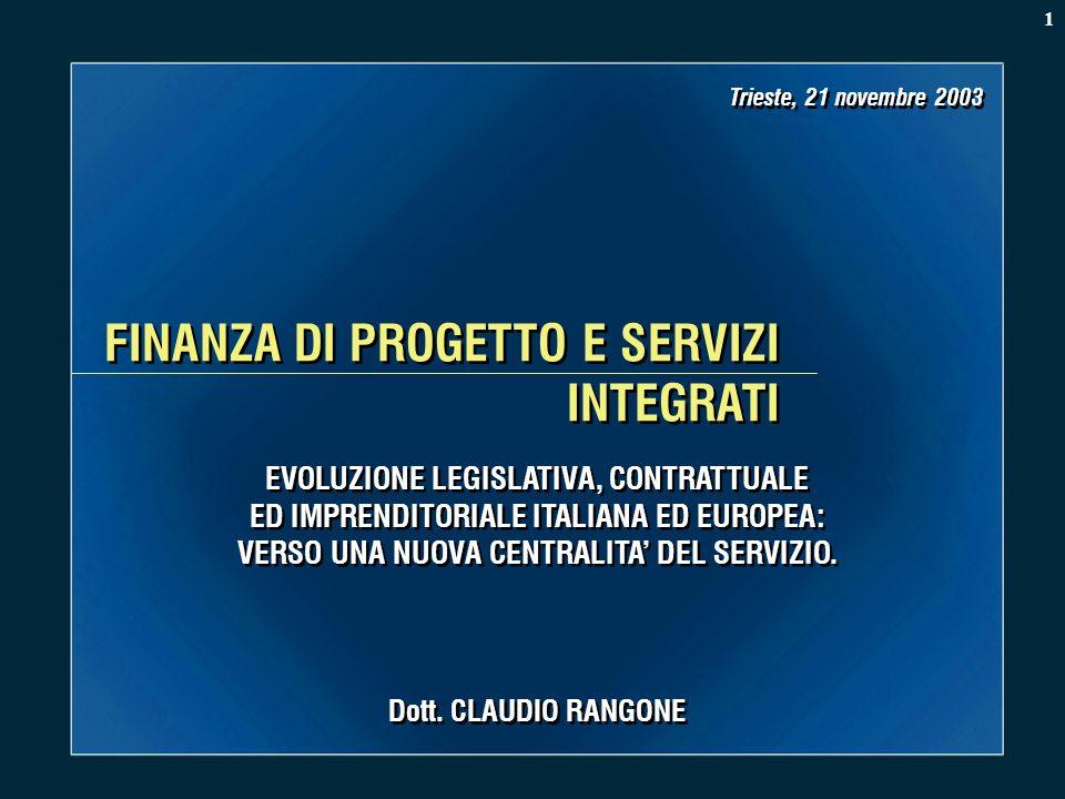 FINANZA DI PROGETTO E SERVIZI INTEGRATI Dott. CLAUDIO RANGONE Trieste, 21 novembre 2003 EVOLUZIONE LEGISLATIVA, CONTRATTUALE ED IMPRENDITORIALE ITALIA