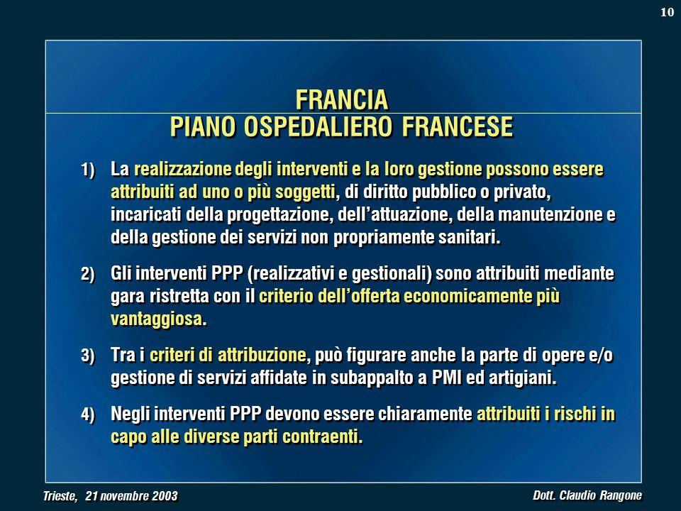 Trieste, 21 novembre 2003 Dott. Claudio Rangone 1) La realizzazione degli interventi e la loro gestione possono essere attribuiti ad uno o più soggett