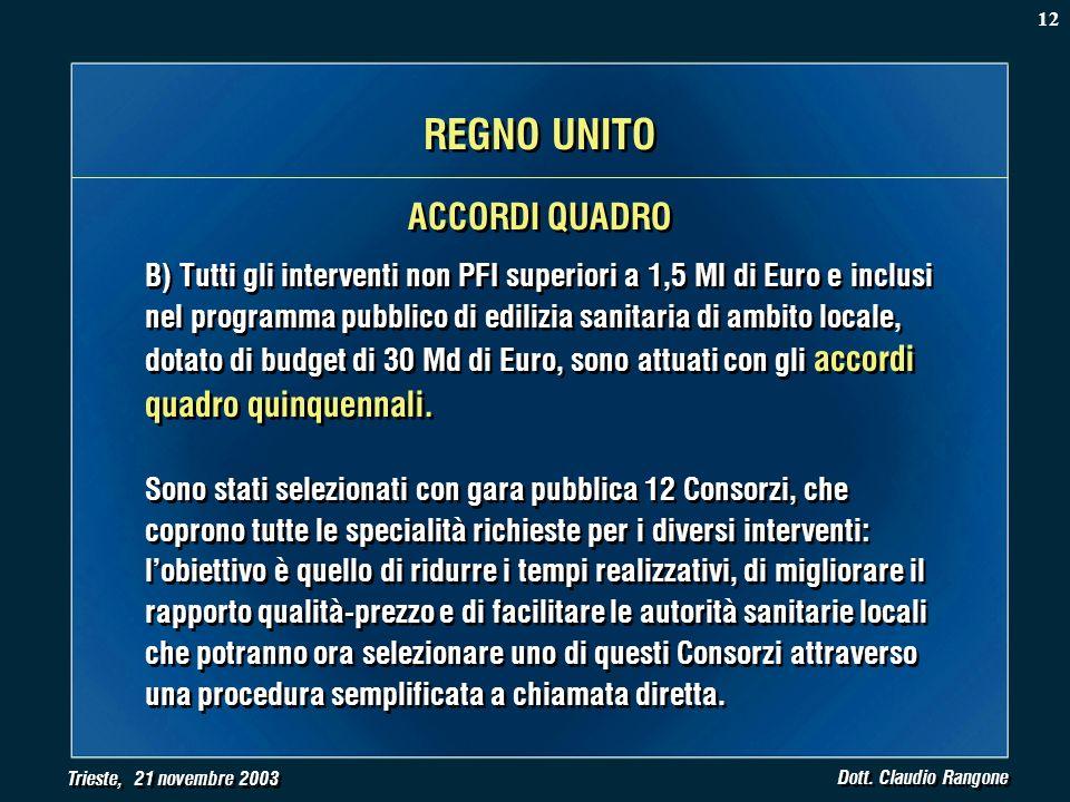 Trieste, 21 novembre 2003 Dott. Claudio Rangone B) Tutti gli interventi non PFI superiori a 1,5 Ml di Euro e inclusi nel programma pubblico di edilizi