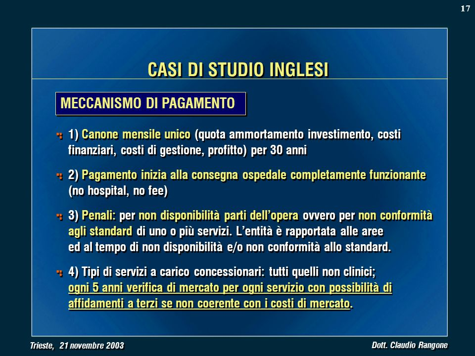 Trieste, 21 novembre 2003 Dott. Claudio Rangone CASI DI STUDIO INGLESI MECCANISMO DI PAGAMENTO 1) Canone mensile unico (quota ammortamento investiment