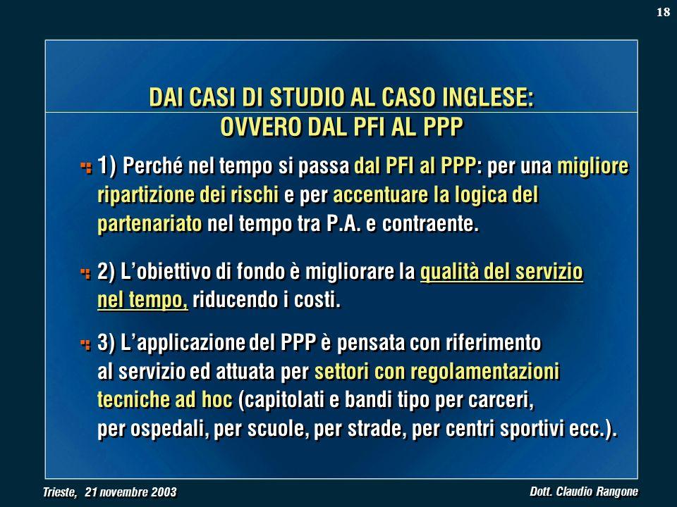 Trieste, 21 novembre 2003 Dott. Claudio Rangone DAI CASI DI STUDIO AL CASO INGLESE: OVVERO DAL PFI AL PPP 1) Perché nel tempo si passa dal PFI al PPP: