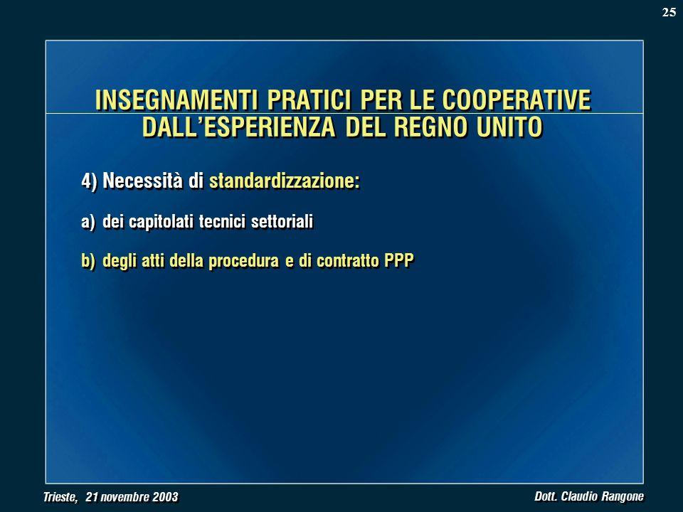 Trieste, 21 novembre 2003 Dott. Claudio Rangone 4) Necessità di standardizzazione: a)dei capitolati tecnici settoriali b)degli atti della procedura e