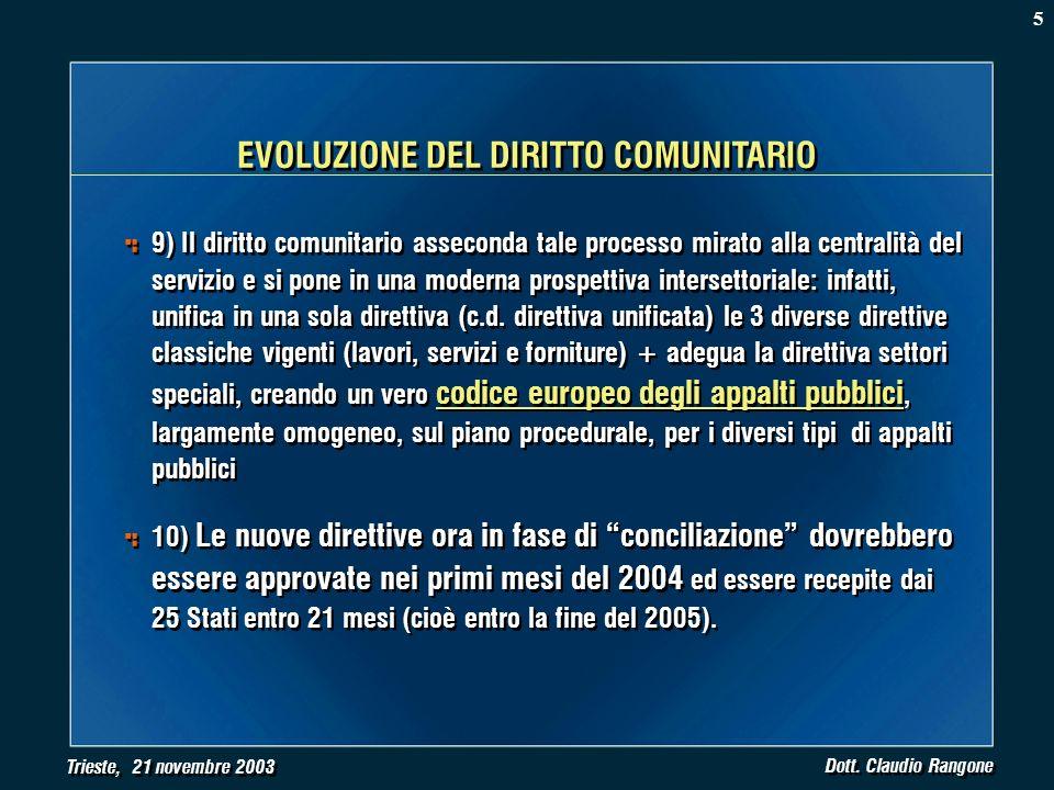 Trieste, 21 novembre 2003 Dott. Claudio Rangone 9) Il diritto comunitario asseconda tale processo mirato alla centralità del servizio e si pone in una