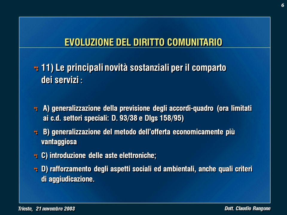 Trieste, 21 novembre 2003 Dott. Claudio Rangone 11) Le principali novità sostanziali per il comparto dei servizi : A) generalizzazione della prevision