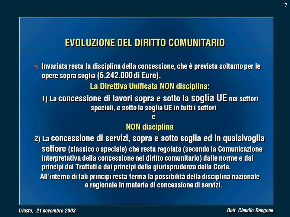 Trieste, 21 novembre 2003 Dott. Claudio Rangone Invariata resta la disciplina della concessione, che è prevista soltanto per le opere sopra soglia (6.