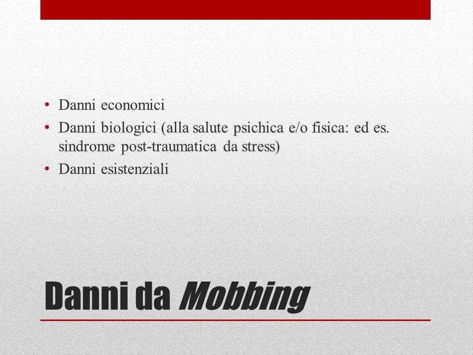 Danni da Mobbing Danni economici Danni biologici (alla salute psichica e/o fisica: ed es.