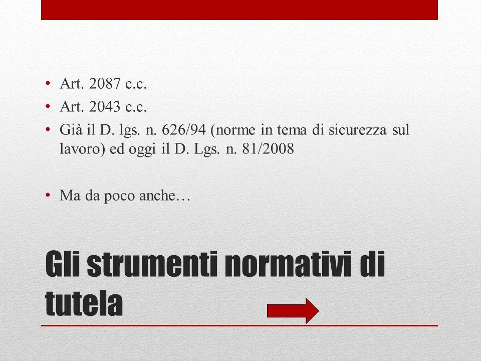 Gli strumenti normativi di tutela Art.2087 c.c. Art.