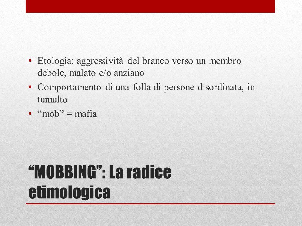 MOBBING: La radice etimologica Etologia: aggressività del branco verso un membro debole, malato e/o anziano Comportamento di una folla di persone disordinata, in tumulto mob = mafia