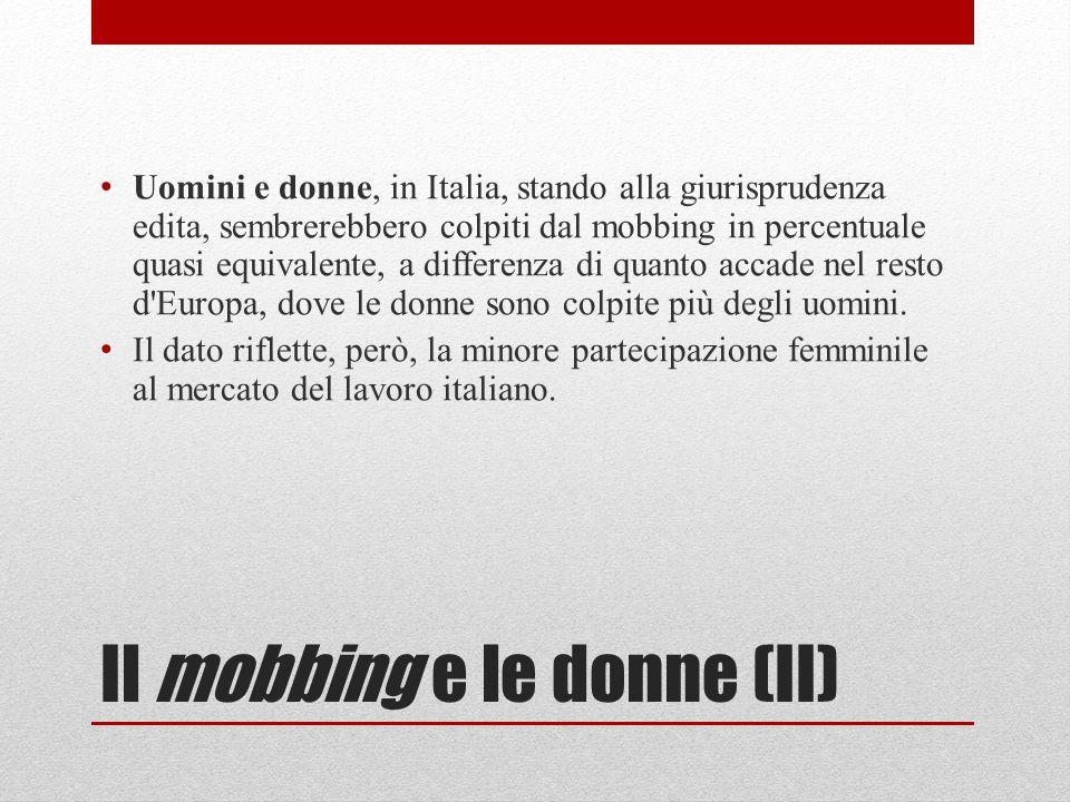 Il mobbing e le donne (II) Uomini e donne, in Italia, stando alla giurisprudenza edita, sembrerebbero colpiti dal mobbing in percentuale quasi equivalente, a differenza di quanto accade nel resto d Europa, dove le donne sono colpite più degli uomini.