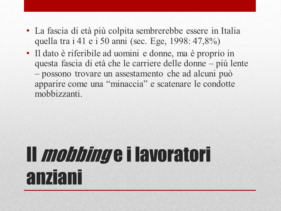 Il mobbing e i lavoratori anziani La fascia di età più colpita sembrerebbe essere in Italia quella tra i 41 e i 50 anni (sec.
