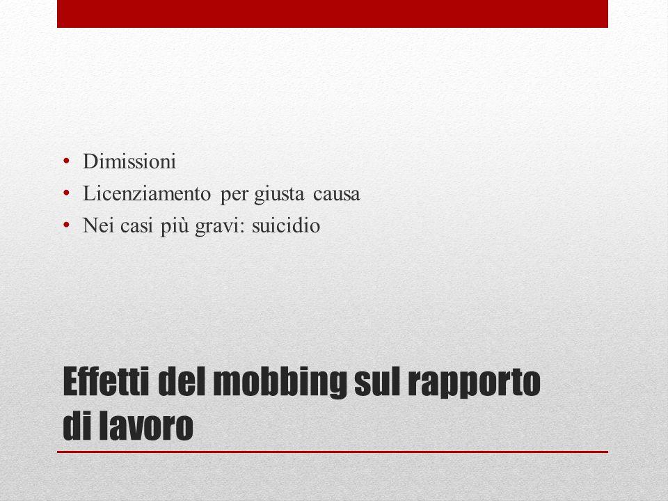 Effetti del mobbing sul rapporto di lavoro Dimissioni Licenziamento per giusta causa Nei casi più gravi: suicidio