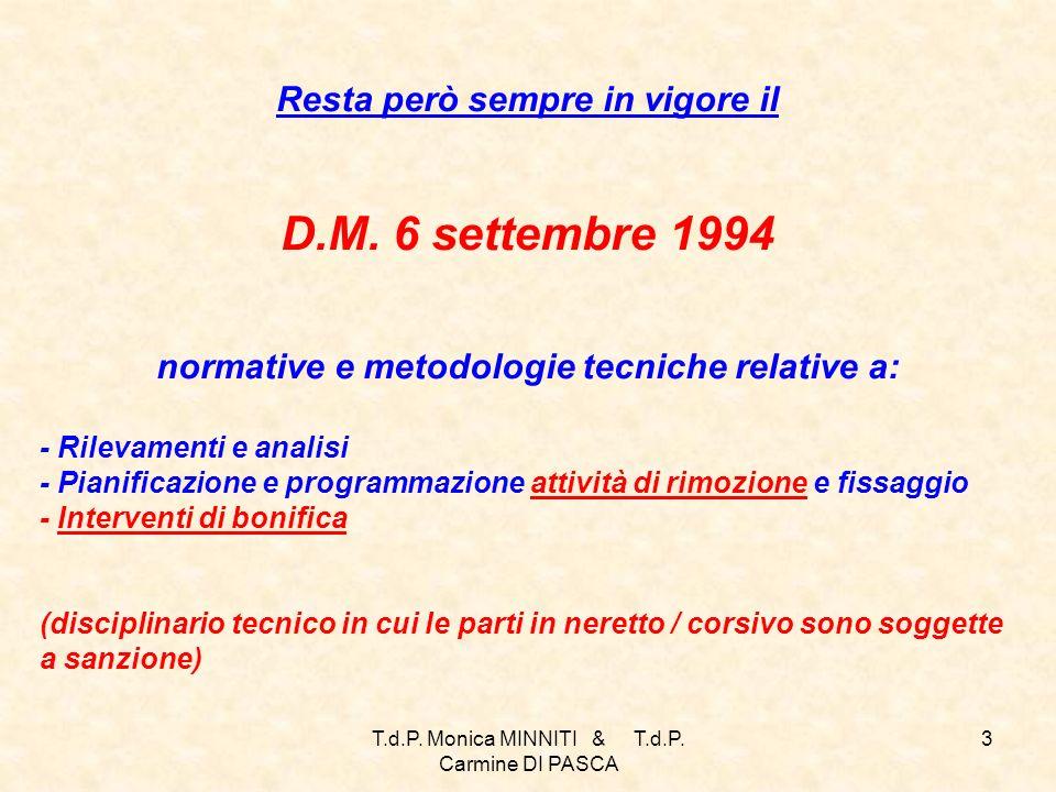 T.d.P.Monica MINNITI & T.d.P. Carmine DI PASCA 3 Resta però sempre in vigore il D.M.