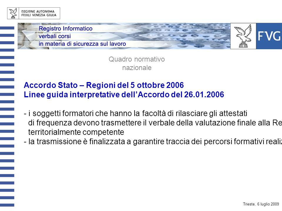 Trieste, 6 luglio 2009 Accordo Stato – Regioni del 26.01.2006 - definisce il quadro della disciplina dei corsi per le figure dei RSPP e ASPP - prevede