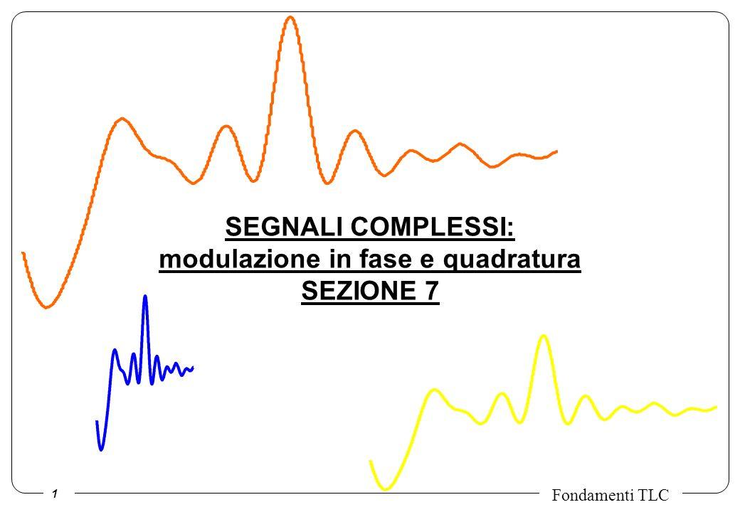 2 Fondamenti TLC In natura esistono solo segnali reali, tuttavia e possibile pensare a segnali che abbiano sia una parte reale sia una immaginaria che evolvono nel tempo: i segnali complessi.