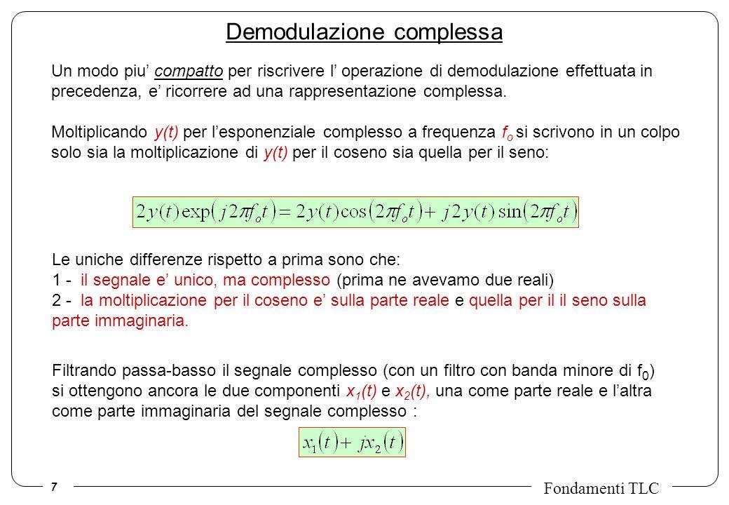 7 Fondamenti TLC Un modo piu compatto per riscrivere l operazione di demodulazione effettuata in precedenza, e ricorrere ad una rappresentazione compl