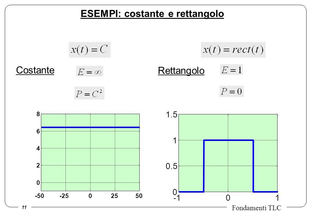 11 Fondamenti TLC Costante -50-2502550 0 2 4 6 8 Rettangolo 01 0 0.5 1 1.5 ESEMPI: costante e rettangolo
