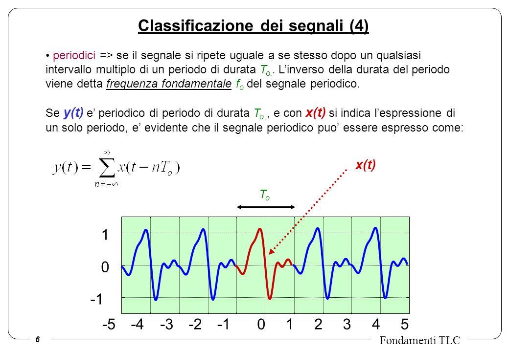 6 Fondamenti TLC periodici => se il segnale si ripete uguale a se stesso dopo un qualsiasi intervallo multiplo di un periodo di durata T o.. Linverso