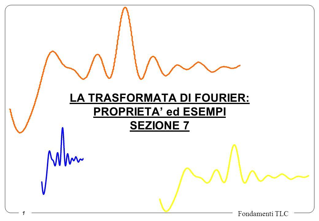 2 Fondamenti TLC LINEARITA: la TdF della combinazione lineare (somma pesata) di due segnali e uguale alla combinazione lineare delle TdF dei due segnali.