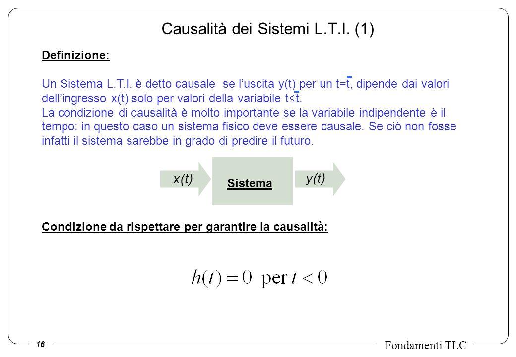 16 Fondamenti TLC Definizione: Un Sistema L.T.I. è detto causale se luscita y(t) per un t=t, dipende dai valori dellingresso x(t) solo per valori dell