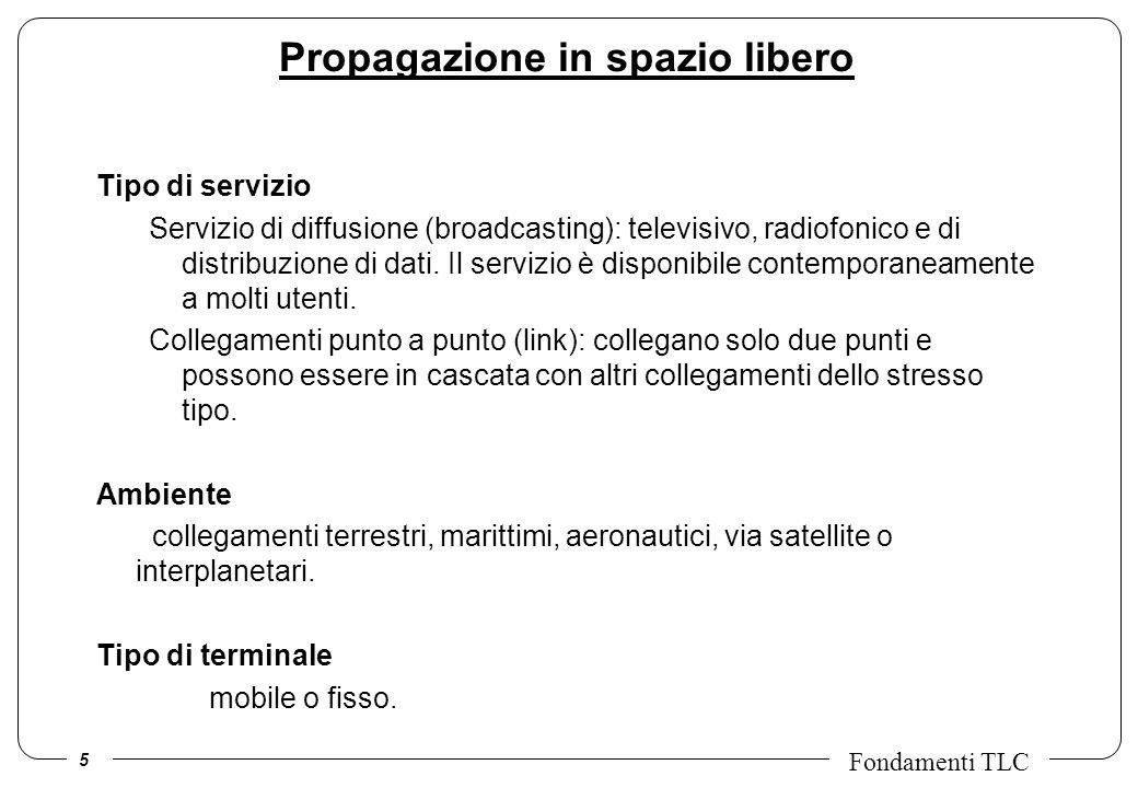 5 Fondamenti TLC Propagazione in spazio libero Tipo di servizio Servizio di diffusione (broadcasting): televisivo, radiofonico e di distribuzione di d