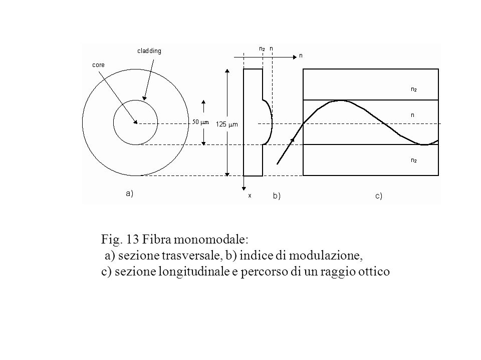 Fig. 13 Fibra monomodale: a) sezione trasversale, b) indice di modulazione, c) sezione longitudinale e percorso di un raggio ottico