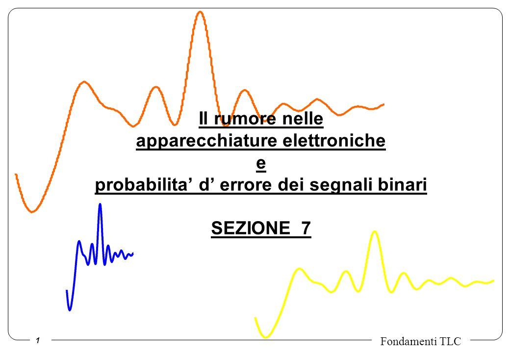 1 Fondamenti TLC Il rumore nelle apparecchiature elettroniche e probabilita d errore dei segnali binari SEZIONE 7