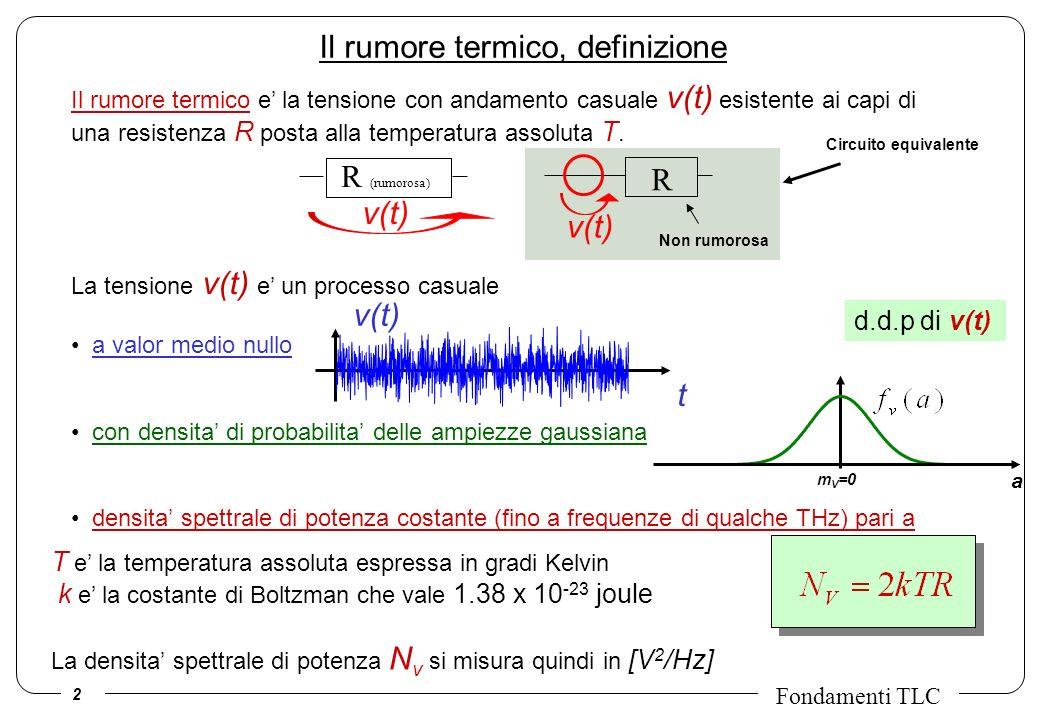 2 Fondamenti TLC Il rumore termico, definizione Il rumore termico e la tensione con andamento casuale v(t) esistente ai capi di una resistenza R posta
