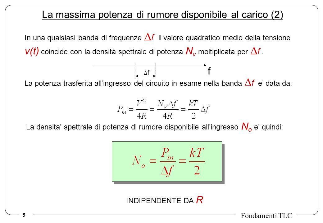 5 Fondamenti TLC La massima potenza di rumore disponibile al carico (2) In una qualsiasi banda di frequenze f il valore quadratico medio della tension