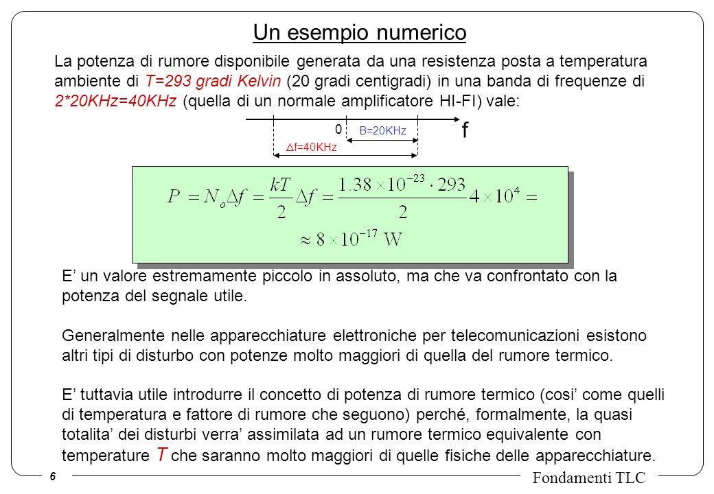 6 Fondamenti TLC Un esempio numerico La potenza di rumore disponibile generata da una resistenza posta a temperatura ambiente di T=293 gradi Kelvin (2