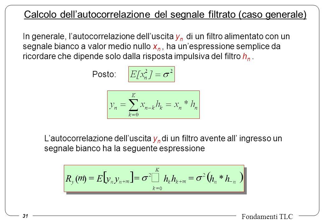31 Fondamenti TLC Calcolo dellautocorrelazione del segnale filtrato (caso generale) *)( 2 0 2 nn K k kknny hhhhyyER m mm In generale, lautocorrelazion