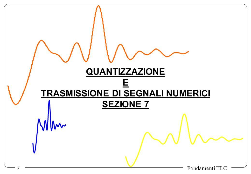 22 Fondamenti TLC Effetto del rumore sulla costellazione ricevuta Il rumore w(t) introdotto dal canale ha valor medio nullo e una distribuzione delle ampiezze di tipo gaussiano sia sulla parte reale sia su quella immaginaria.