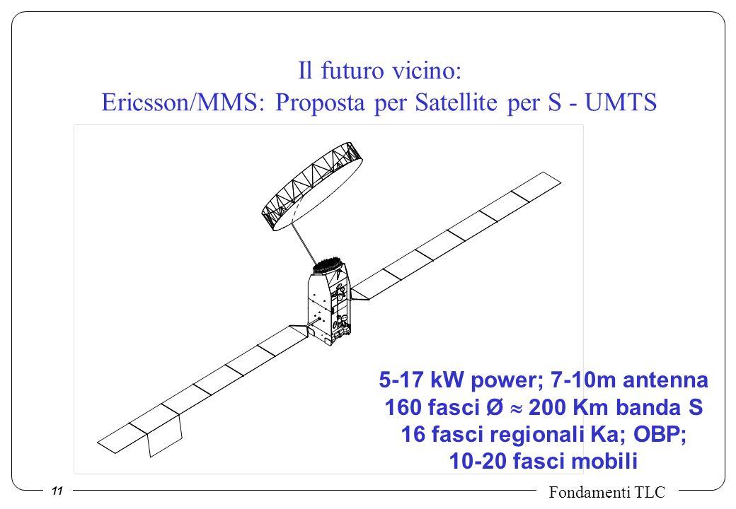 11 Fondamenti TLC Il futuro vicino: Ericsson/MMS: Proposta per Satellite per S - UMTS 5-17 kW power; 7-10m antenna 160 fasci Ø 200 Km banda S 16 fasci