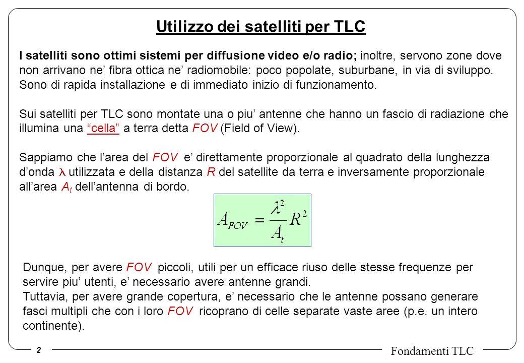 3 Fondamenti TLC (Low, Medium, Geo - synchronous Earth Orbits) (distanza dalla terra = 400, 4000, 40000 km) LEO: sono vicini, comportano poco ritardo, ma la terra emersa e solo il 30% del totale: ne servono tanti, con modesto duty cycle.