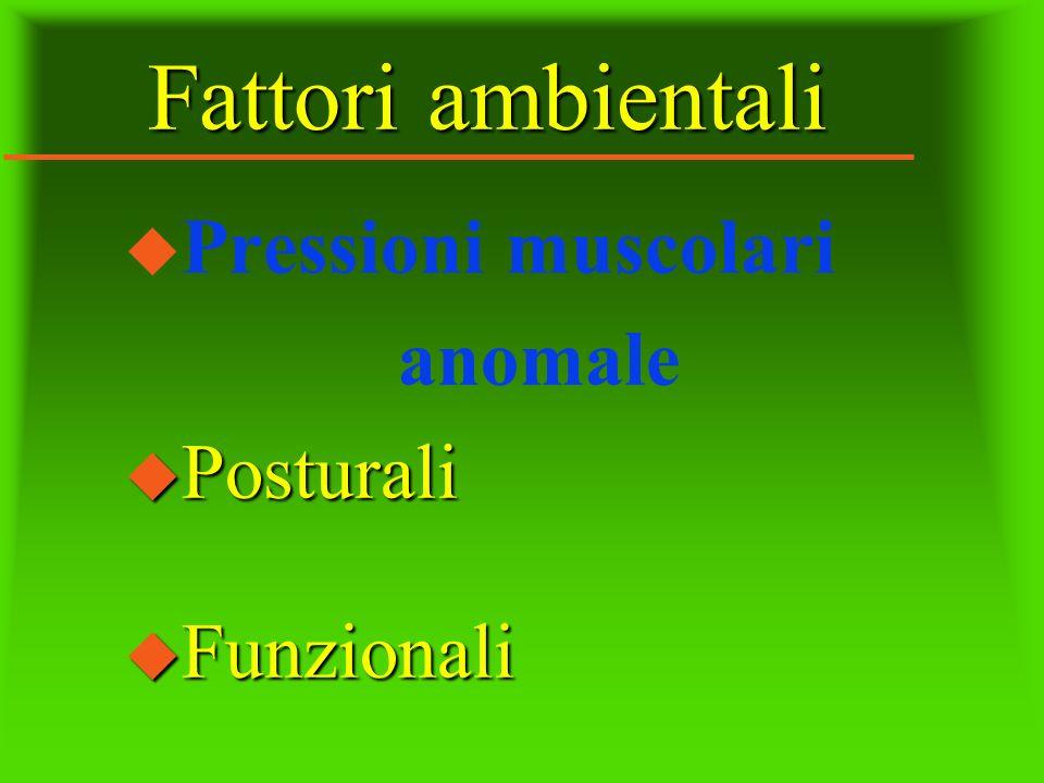 Fattori ambientali u Pressioni muscolari anomale u Posturali u Funzionali