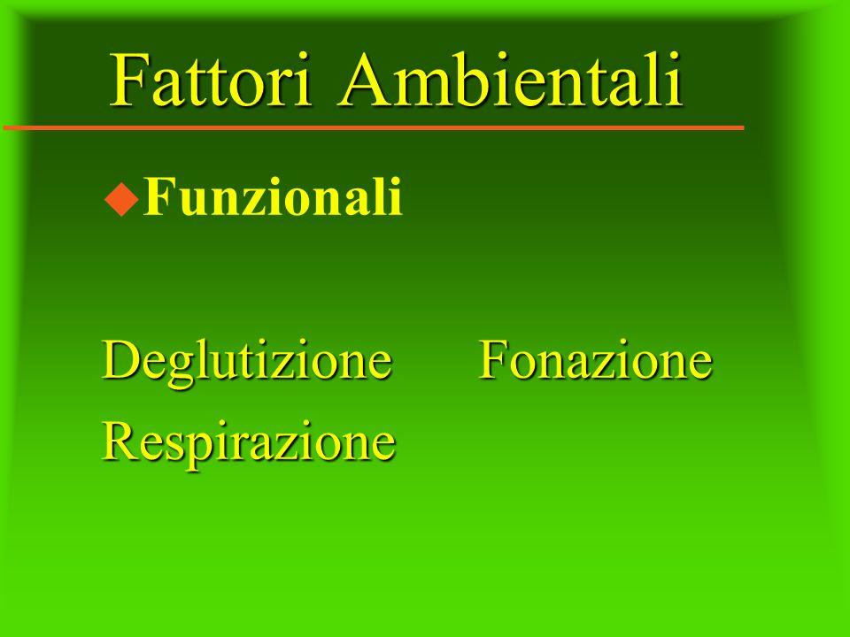 Fattori Ambientali u Funzionali Deglutizione Fonazione Respirazione