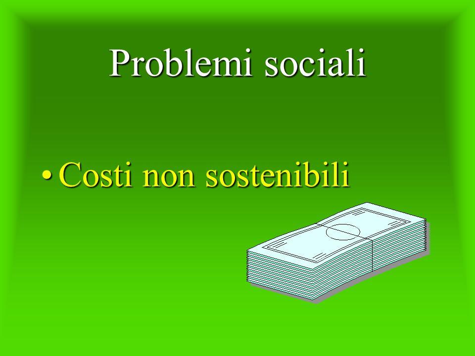 Problemi sociali Costi non sostenibiliCosti non sostenibili