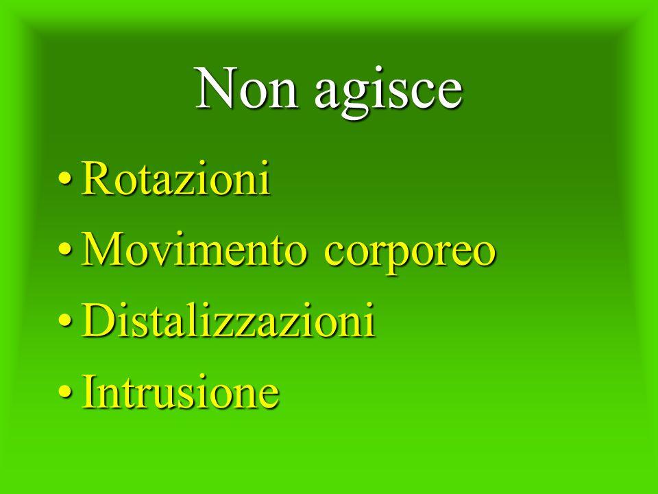 Non agisce RotazioniRotazioni Movimento corporeoMovimento corporeo DistalizzazioniDistalizzazioni IntrusioneIntrusione