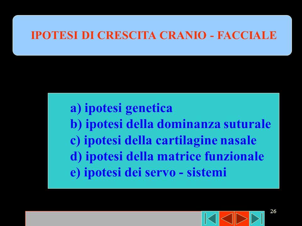 26 IPOTESI DI CRESCITA CRANIO - FACCIALE a) ipotesi genetica b) ipotesi della dominanza suturale c) ipotesi della cartilagine nasale d) ipotesi della
