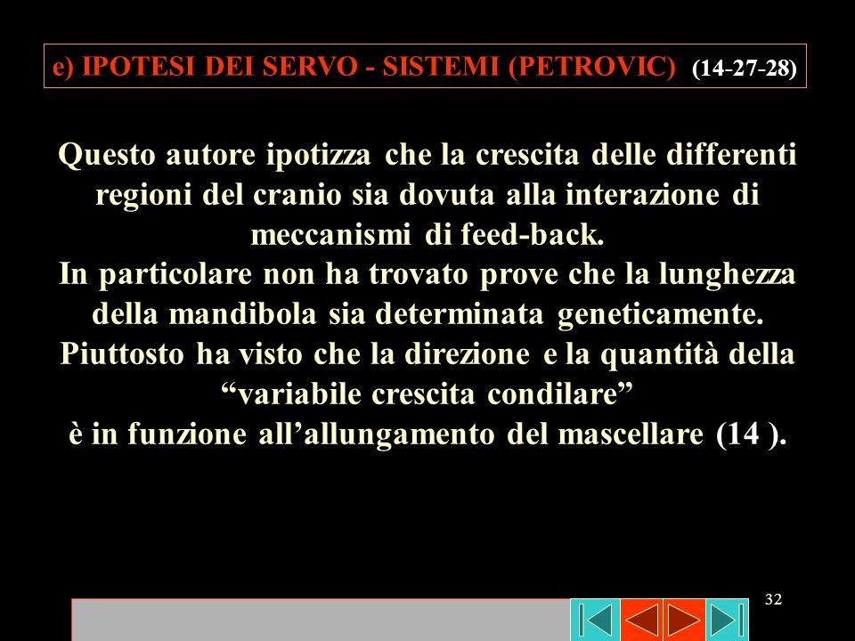 32 e) IPOTESI DEI SERVO - SISTEMI (PETROVIC) (14-27-28) Questo autore ipotizza che la crescita delle differenti regioni del cranio sia dovuta alla int